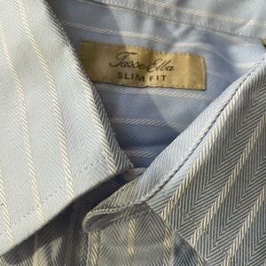 TASSO ELBA Blue STRIPE button down long sleeve M